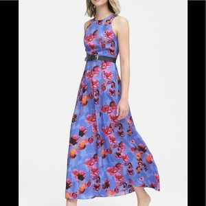 BANANA REPUBLIC Floral Contrast  Green Maxi Dress